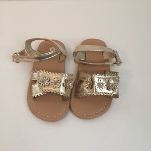 Other - NWOT Gold Sandals with flowers and rhinestones.